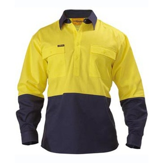 Closed Front Hi Vis Drill Shirt - Long Sleeve