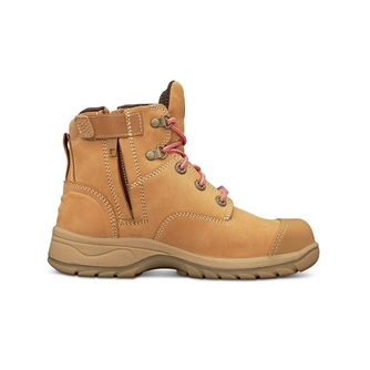 PB 49 - Womens Ankle Height Zip Side Lace Up Boot - Wheat