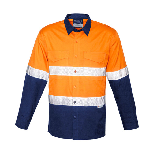 Hip Pocket Workwear - Mens Rugged Cooling Taped Hi Vis Spliced Shirt